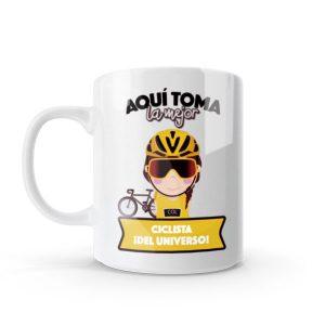Mug pocillo con diseño de ciclista