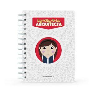 Cuaderno pequeño con diseño de arquitecta