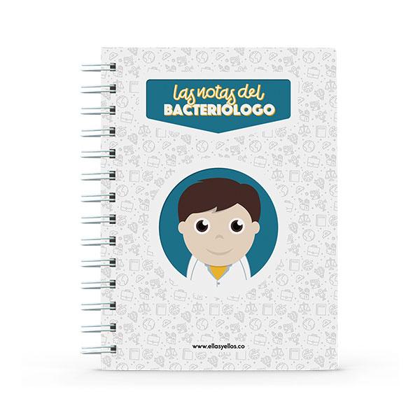 Cuaderno pequeño con diseño de bacteriólogo