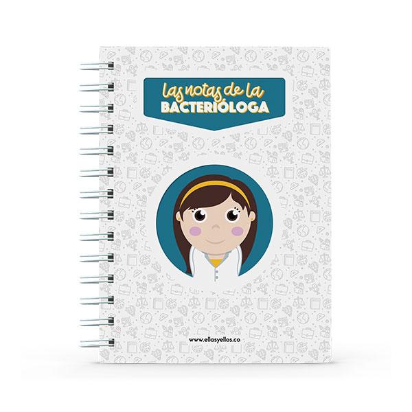Cuaderno pequeño con diseño de bacterióloga