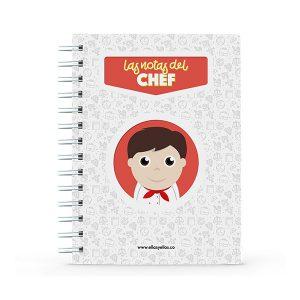 Cuaderno pequeño con diseño de chef de cocina