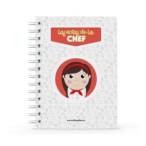 Cuaderno pequeño con diseño de cocinera