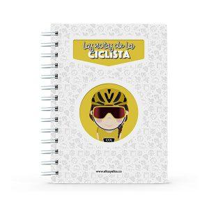 Cuaderno pequeño con diseño de ciclista