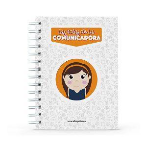 Cuaderno pequeño con diseño de comunicadora