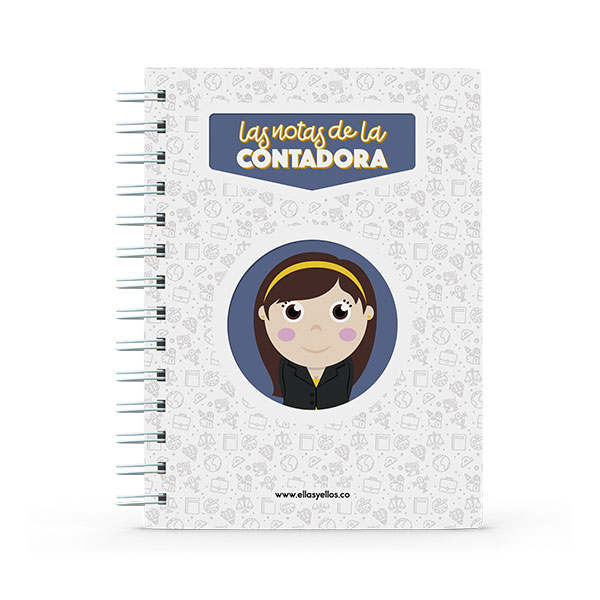 Cuaderno pequeño con diseño de contadora