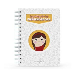 Cuaderno pequeño con diseño de emprendedora