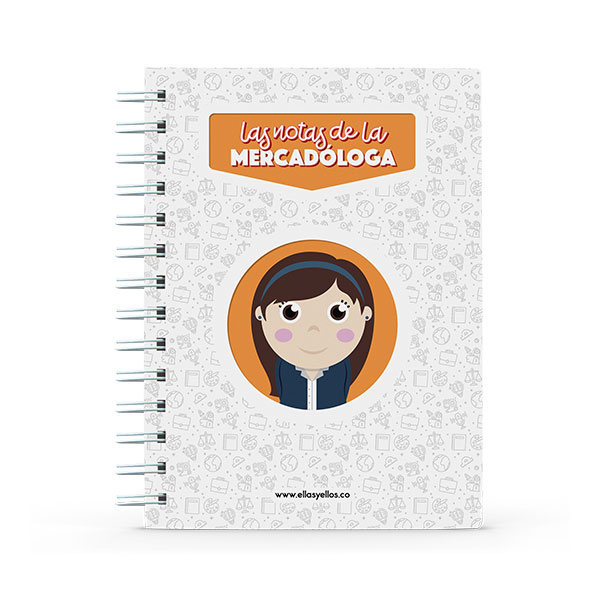 Cuaderno pequeño con diseño de mercadóloga