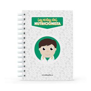 Cuaderno pequeño con diseño de nutricionista