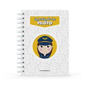 Cuaderno pequeño con diseño de piloto de aviones