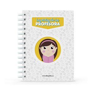 Cuaderno pequeño con diseño de profesora