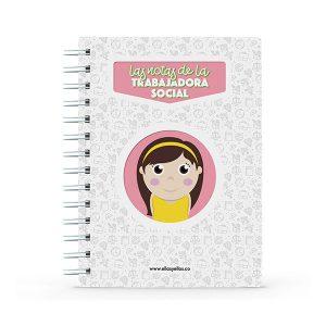 Cuaderno pequeño con diseño de trabajadora social