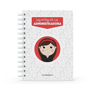 Cuaderno pequeño con diseño de administradora