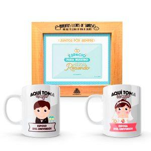Kit de regalos para esposos portarretrato y mugs pocillos