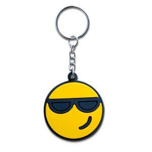 Llavero en forma de emoji con gafas de sol
