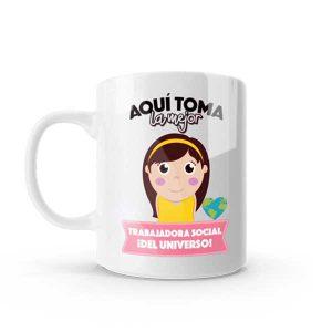 Mug pocillo con diseño de trabajadora social