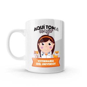 Mug pocillo con diseño de veterinaria