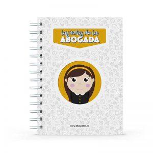 Cuaderno con diseño de abogada