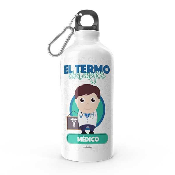 Termo de agua con diseño de médico