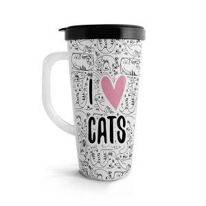 Vaso para bebidas calientes con ilustración de gatos