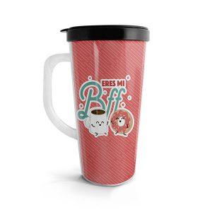Vaso para bebidas calientes con diseño de mug y donut