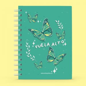 Cuaderno pequeño con diseño de mariposas